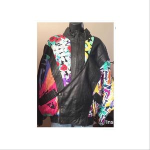 Vintage leather jacket with silk patches